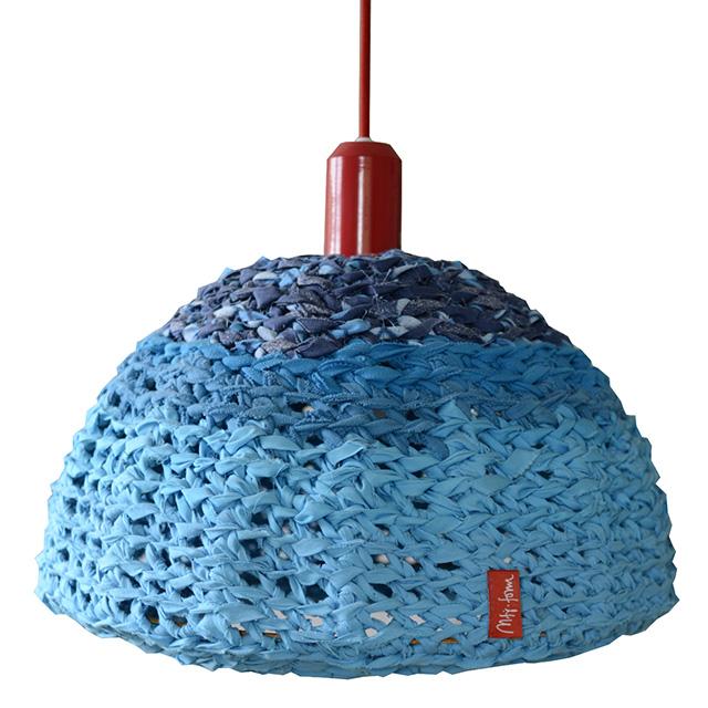 Lampa blau, virkade lampor, av mfj-form